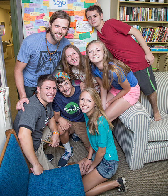 Karl Hudson, far left, director of youth and young adult ministry at Southminster Presbyterian,, believes staying contemporary and adapting to changing culture creates new ways to bring more young people into the church.