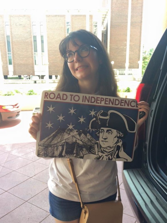 "The author, Julia Teti, on the road for her ""tour,"" as the National Corresponding Secretary for Children of the American Revolution"