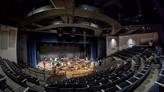 Both the 300-seat fine arts theater above, and the 1,350-seat main auditorium were renovated with new seats, curtains and upgraded sound equipment. The big auditorium has a new wheelchair ramp, and the fine arts theater now has an elevator for improved access.
