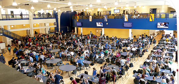 Natural light streams into Mt. Lebanon High School's new center court, built on the former south gym. This nerve center of the school is just steps away from a modern food court, technology-filled library, study nooks, comfortable activities office, school newspaper headquarters and a newly renovated fine arts core including dance studios, musical practice rooms and the completely renovated auditorium and fine arts theater.