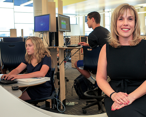 """Our biggest request was to be in the center of the building, and it's been wonderful,"" says librarian Christy Smith, who loves the natural light, nooks for reading and rooms for group study. Computer stations allow for research, and a patio outside is useful for group projects. ""It makes you happy to be in here,"" Smith says. Since libraries evolve with technology, the space needed to be able to adapt to new ways of learning. ""It really is a flexible space that we can transform it to be whatever it needs to be,"" adds Smith, who says she has seen a large uptick in student use."