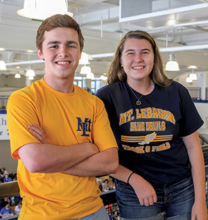 Hugh McMahon and Fabi Shipley, senior class co-presidents, say the school is a community center that has increased school spirit dramatically. Shipley says she uses the renovated library every day, thanks to its central location.