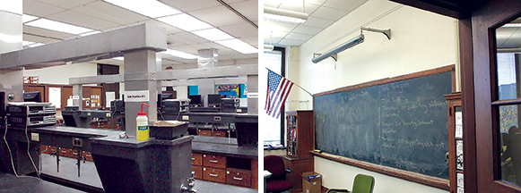 the historic Cochran Road building was gutted and remodeled to make the classrooms bigger and add needed technology and climate control. Gone are blackboards in favor of monitors that double as TVs. A new television studio and tech ed rooms, as well as art studios with balconies and natural light are just some of the new amenities.