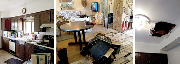 The house was far from move-in condition, as the photos above show. The family knew the kitchen was basically unusable, but after more than a month of rain, it also had a giant hole and leak in the ceiling.