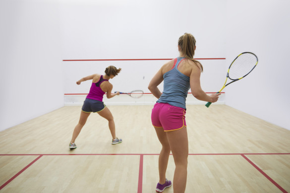 A view inside a typical squash court