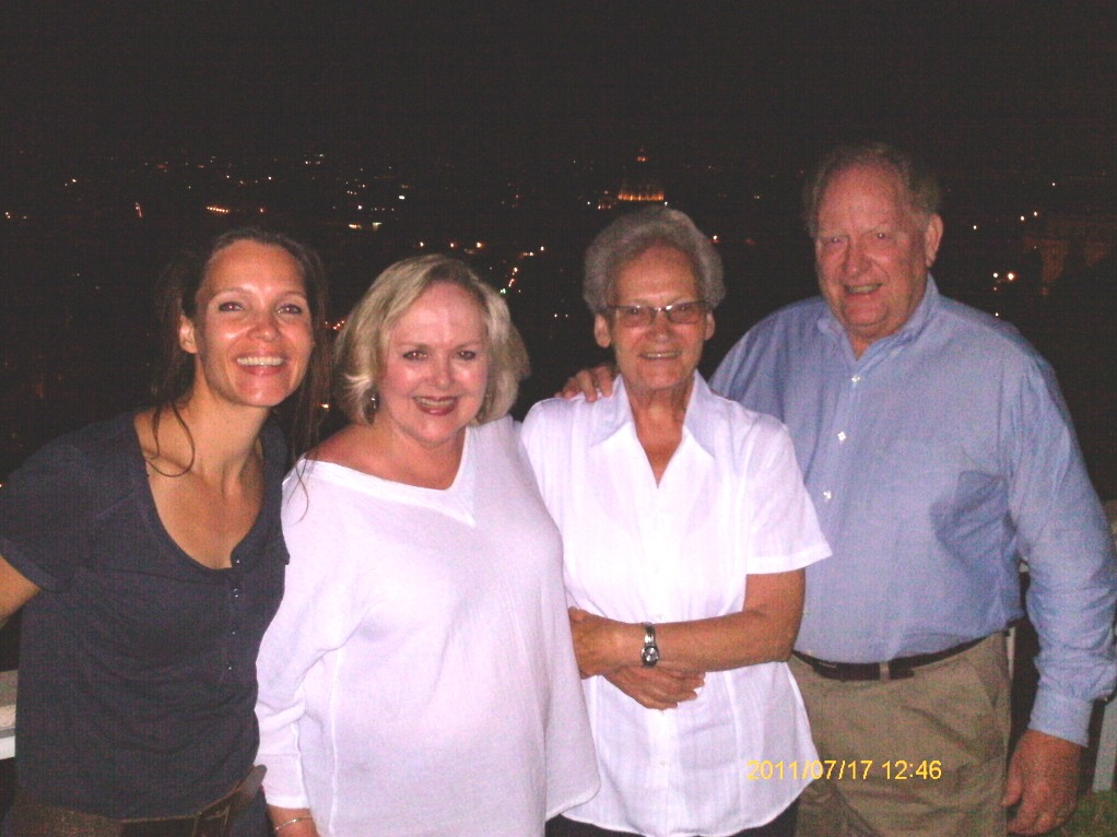 Carla, author Susan Morgans, Carla's mother, Mieke, and Hal Morgans reunite in Rome in 2015