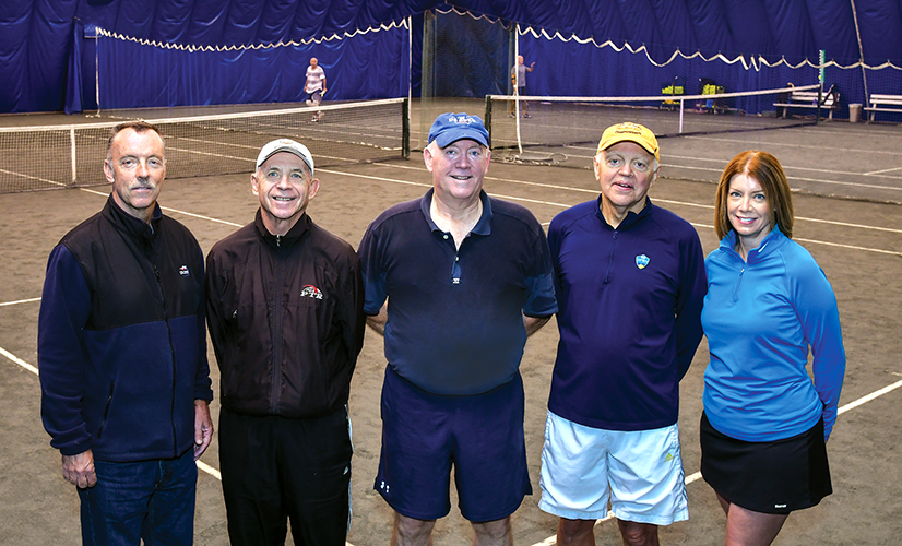 Indoor Tennis board members Dan Hackett, treasurer; Jerry O'Hara, vice president; Walt Henry, president; John Brown, secretary; and Katie Sharon