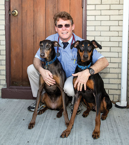 "The first Doberman veterinarian Dr. David Dorn and his wife, Lisa, adopted ended up ""converting"" them—Celia and Max, pictured, are the third and fourth Dobermans the Dorns have welcomed into their family."