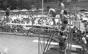 Many residents remember the original pool and the  fun—and fear—of mastering the high dive. High dives have disappeard because of safety concerns, but modern amenities and water features should  make our renovated pool safer and more fun than ever.