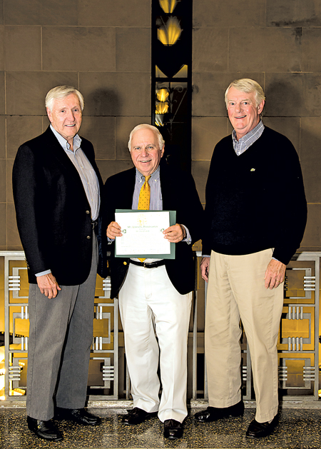 The Commission presented the club with a citation marking its half century. Accepting were officers John Frenie, Dave Green and Phil Johnson. Photo: Elizabeth Hruby McCabe