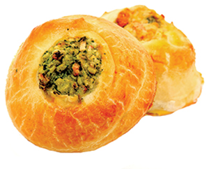 Knish can be filled with any kind of filling. Especially tasty is crabmeat  or a lamb ragout.