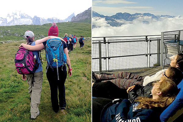 The hike to Bunder Falls was longer and harder than it looked... At right: Aaah, relaxing atop Niessen, reached by funicular.