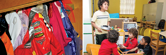 """Pittsburgh's first """"crisis nursery,"""" Jeremiah's Place, is a safe place for children whose parents might otherwise need to leave them alone. The atmosphere is homey, with costumes to spark the imagination (left) and a playroom (right) where kids can interact and just be kids."""