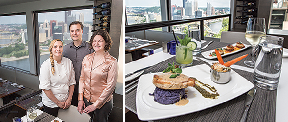 At left: Executive Chef Jessica Bauer, server Rodman Walker and hostess Shauna Anderson of Altius. B DeFrancis, not pictured, is proprietor of Altius and of Bistro 19 in Mt. Lebanon, where Bauer is also chef. At Altius, the quintessential Mt. Washington draw: a stunning view of the city. The excellent food that comes with it is a bonus. At right: Amish chicken breast with purple potato puree.