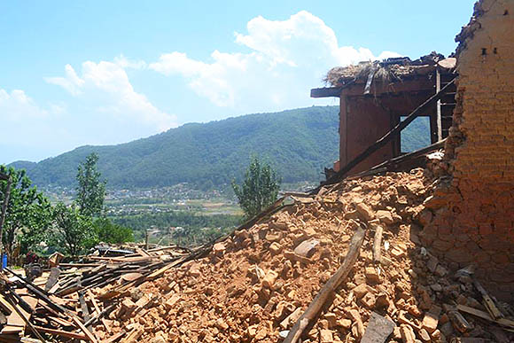 A house destroyed by the earthquake in Dharmasthali, a small village near the capital.