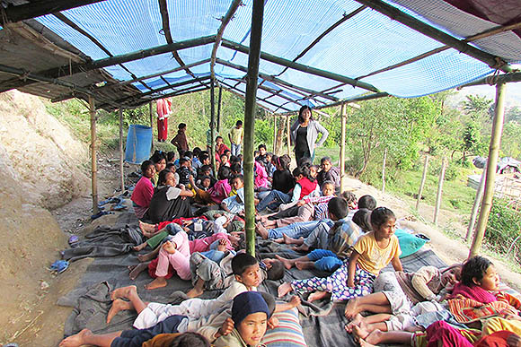 Over 100 of PA Nepal's kids, all prison rescues, were forced to stay outside under makeshift shelters because of earthquake damage to the home and school in Sankhu, Kathmandu Valley, Nepal
