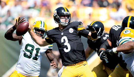 Landry Jones is in his third season with the Steelers. Originally the No. 3 quarterback, fans got to see his true talent October 18, when his two touchdown passes propelled the Steelers to a 25-13 win over the Cardinals. Injuries to starting quarterback Ben Roethlisber and backups Bruce Gradkowski and Michael Vick put Jones above center.