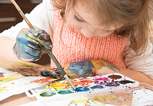 Art Factory classes are divided into two age groups, 4 to 6 and 7 to 13. Students leave the class with a completed painting.