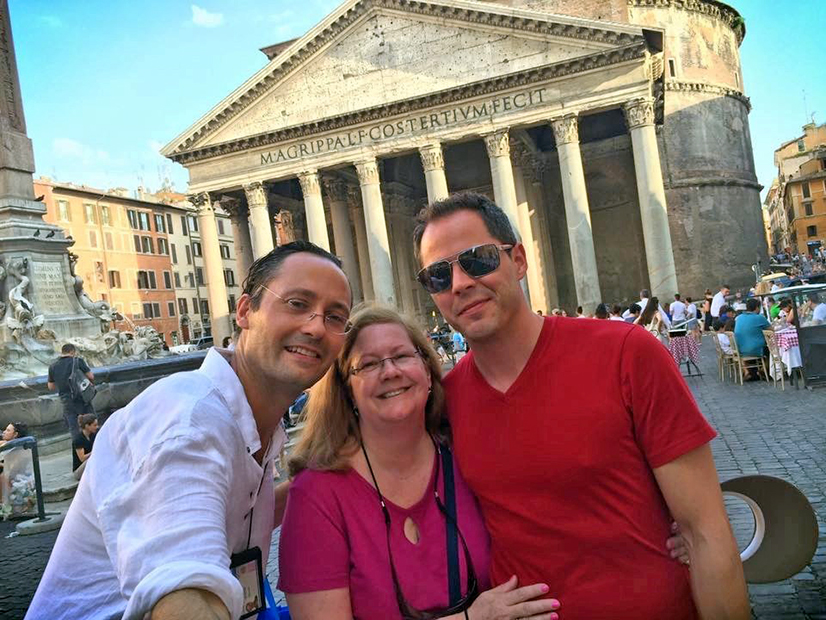 Rich Brunn, Joanne Christopher and her son, Patrick Christopher, in front of the Roman Forum