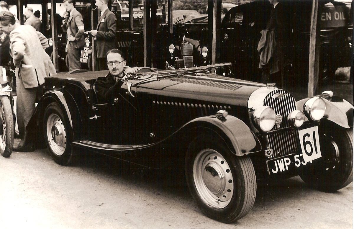 Dr. Steel with JWP 537 during his rally days in England