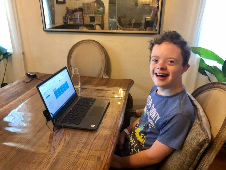 "Posted by Laura Flannery, ""First Day as a Middle Schooler! MMS 📚👨‍💻"""