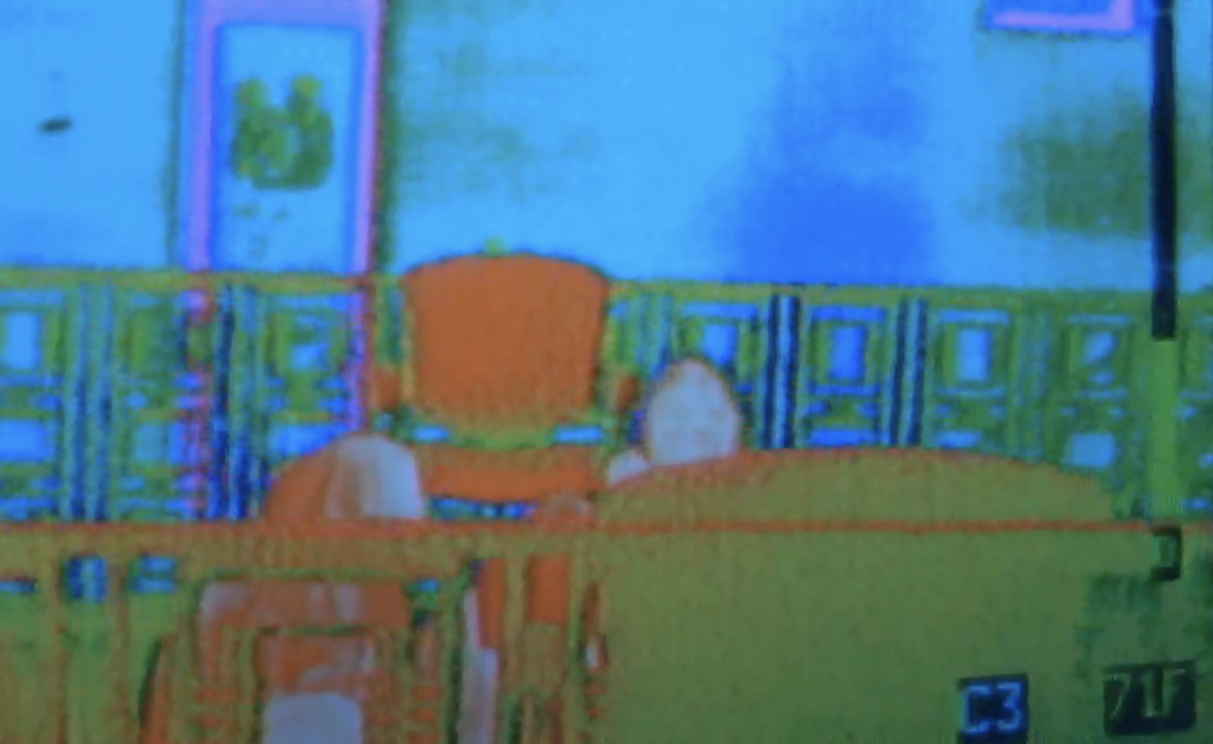 Team True Believers, as seen through the thermal imaging camera.