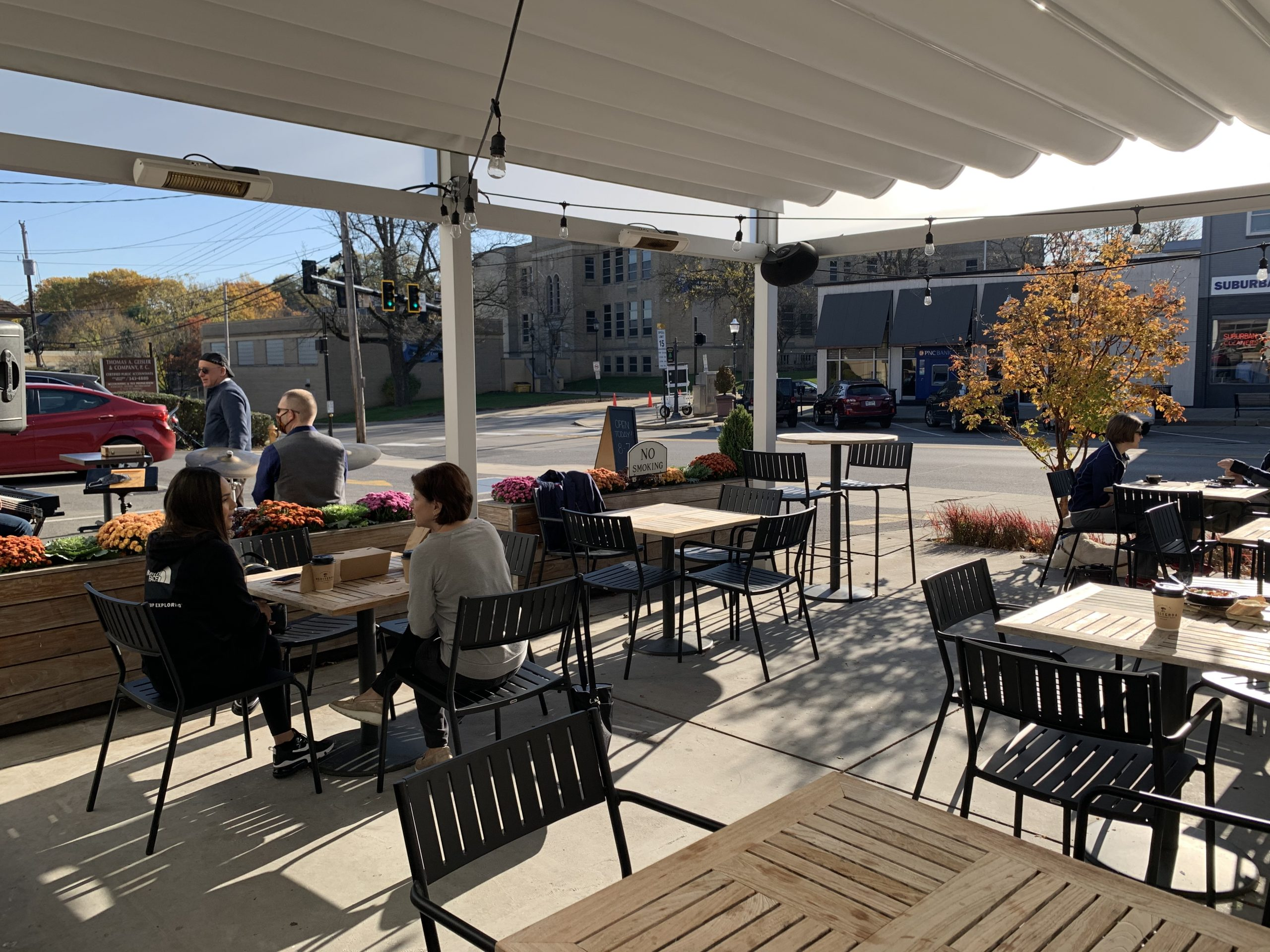 A look at the patio of Mediterra Cafe on Beverly Road.