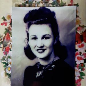 A black and white photo of Al Vrabel's mother, Ann, in her youth.