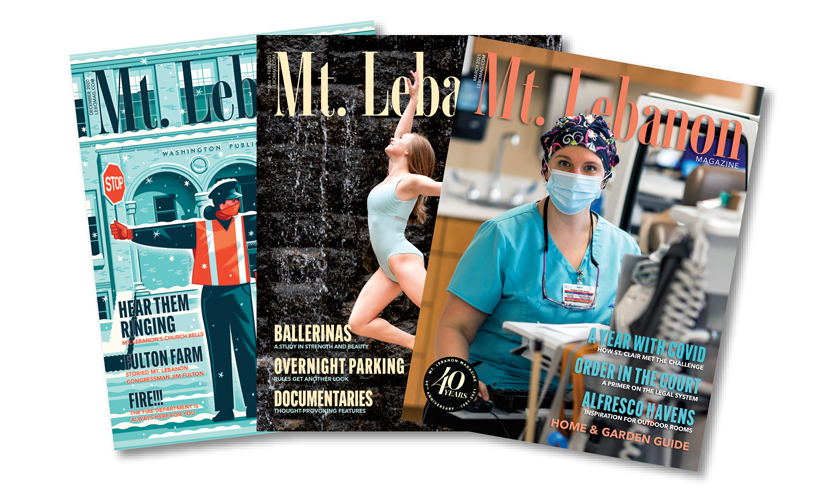 three mt.lebanon magazine covers lined up next to eachother.