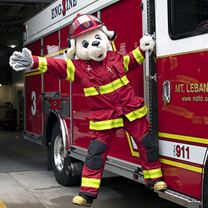 Mt. Lebanon Fire Department's mascot, Sparky, is a dalmatian in a firefighter's suit.