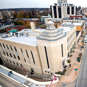A drone view of the municipal building from above.