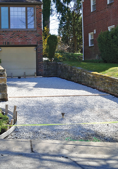 Residential driveway under construction.