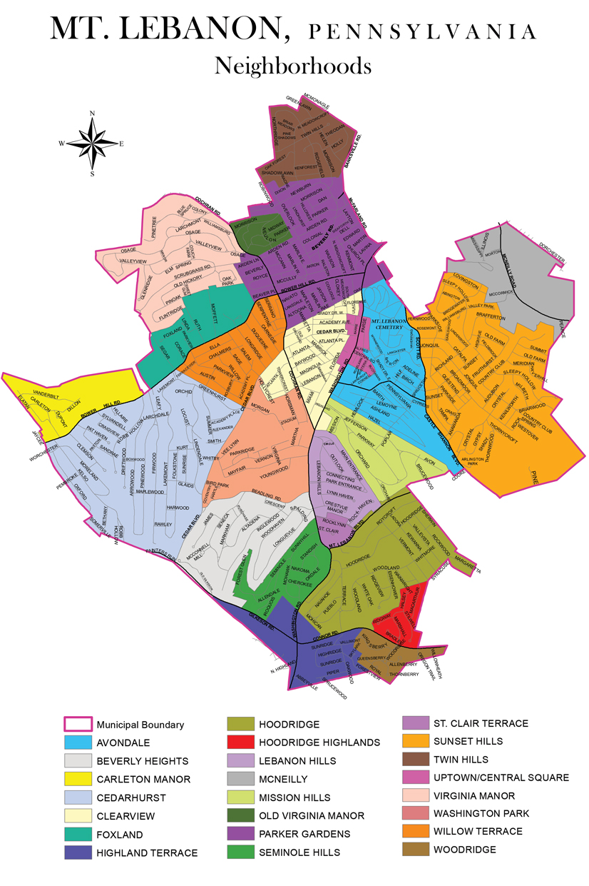 A map with all the names of mt lebanon neighborhoods.