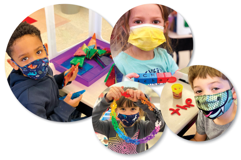 Images of children wearing masks in a school using their hands learning fine motor skills.