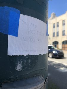 A note from the Random Note Project left by Bovard on a pole in Mt. Lebanon's Uptown business district.