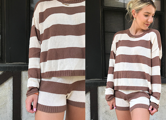 A brown and tan striped knit sweater and short loungewear combo.