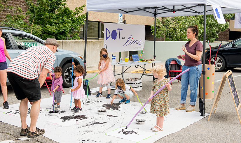 Children's art event at the Uptown Farmers Market.