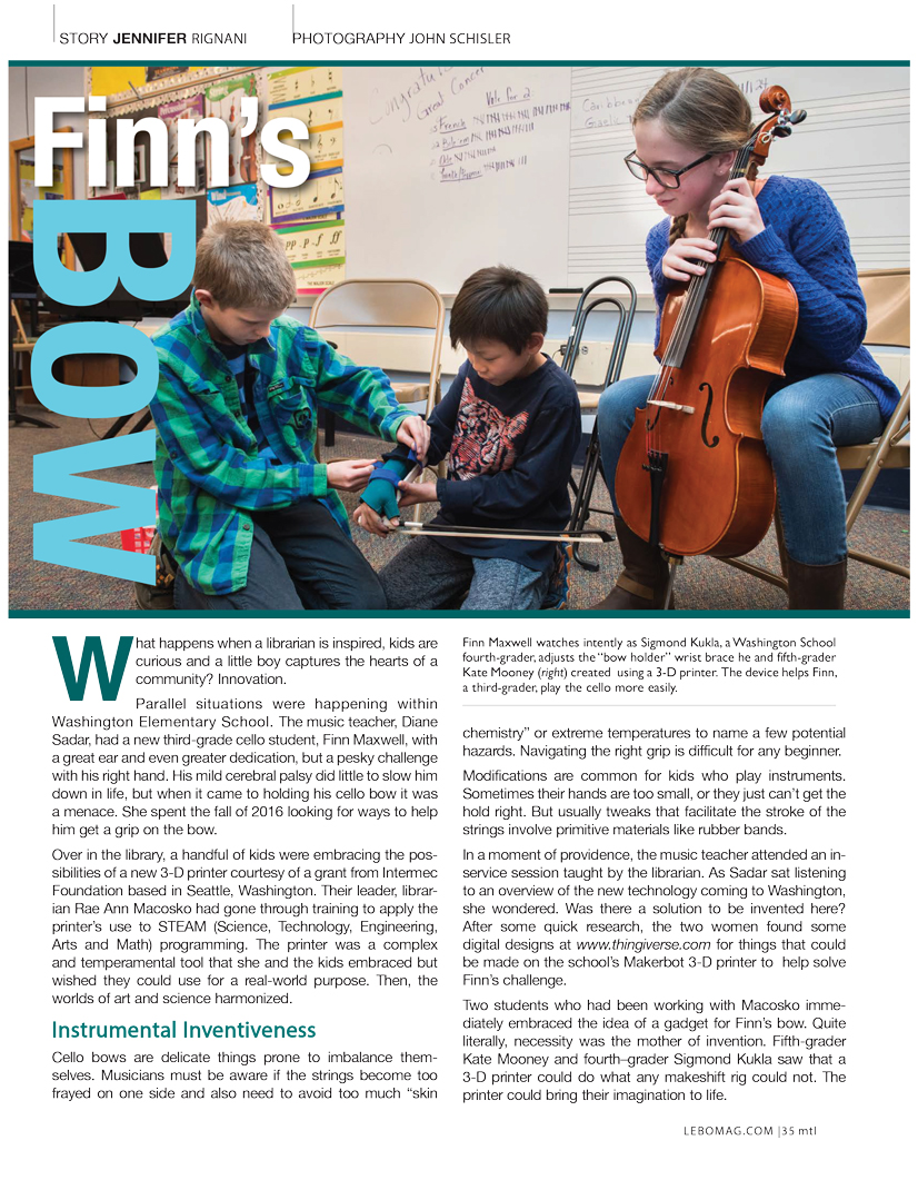 """A scan of the article """"Finn's Bow"""". Has an image of 2 children helping another child hold his bow to play the cello."""