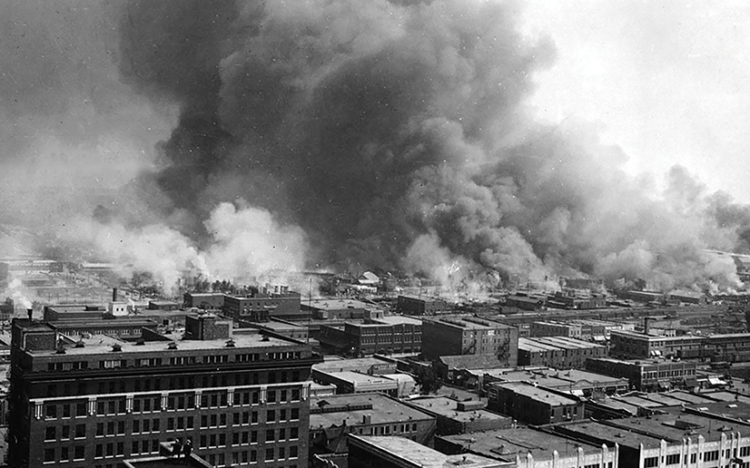 Historical image of the 1921 Tulsa race riot.