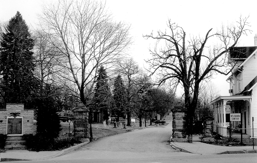 Black and white photo of the entrance at the Mt. Lebanon cemetary.