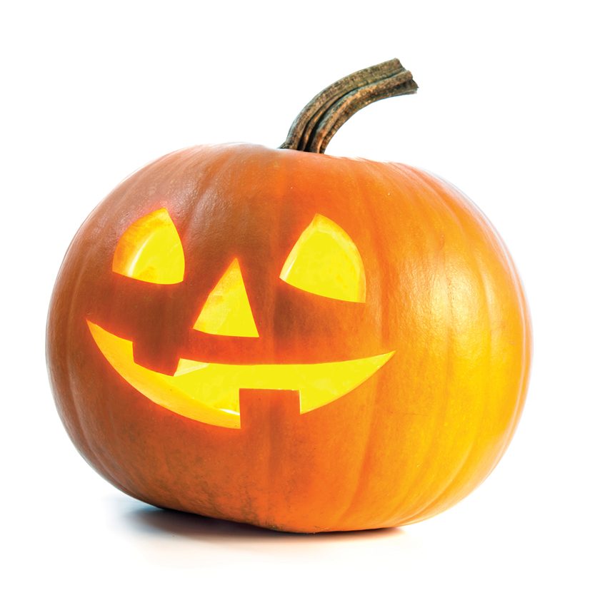 Pumpkin with a smile on its face.